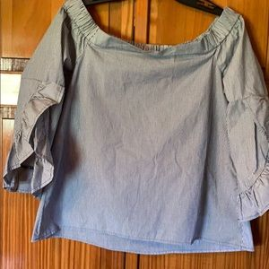Cupio off the shoulder Blouse Navy and white NWT